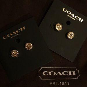 COACH - OPEN CIRCLE STONE STRAND EARRINGS (NEW)